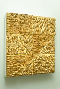 Cross Currents Screen, crosscut bamboo, canvas screen, acrylic, 2012 Anne Crumpacker is a Portland, Oregon artist who works with bamboo and has found a uni