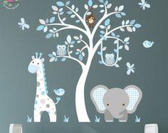 Dschungel-Aufkleber, blau und grau Baumschule, Affe, Eulen, Giraffe und Elefant, weißen Baum Wandbild. Jungen Wandsticker, Baby Dekor, Frühlings-Trends