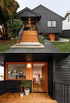 Best Exterior House Paint, Black House Exterior, Bungalow Exterior, Exterior Stairs, Exterior House Colors, Modern Exterior, Exterior Design, Bungalows, Small Bungalow
