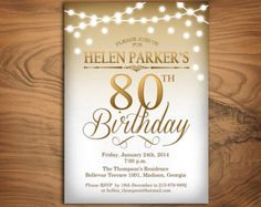 80th Birthday Party Invitation / 70th / 90th / Any Age / Gold  / String Lights / Digital Printable Invitation / Customized