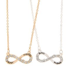 """<P>For a friendship that's forever. This set includes 2 matching pendant necklaces, one in silver and one in gold. Each features an infinity symbol accented with crystals and the phrase """"Best Friends."""" Each pendant hangs on a matching chain.</P><UL><LI>Includes 1 silver and 1 gold pendant necklace<LI>Pendant: 1""""L x 3/8""""H<LI>Chain: 17""""L<LI>Lobster clasp closure<LI>Metal</LI></UL>"""