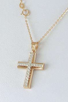 Βαπτιστικός σταυρός με αλυσίδα, σε ροζ χρυσό με ζιργκόν, 14 καράτια, κορίτσι, κωδικός GS218 Arrow Necklace, Gold Necklace, Diamond Cross, Diana, Cross Pendant, Pendants, Crosses, Sparkle, Jewelry