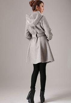 Veste dhiver veste courte manteau en laine gris veste par xiaolizi