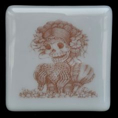 Fused Glass Coaster - Dia De Muertos 03 – Day Of The Dead – £9. Original drawings by Jiewsurreal (stock photos). All coasters measure approximately 10 x 10cm, with clear rubber bumpers on the base to keep them in place and protect your furniture. www.glassbygenea.co.uk #glassbygenea #fusedglass