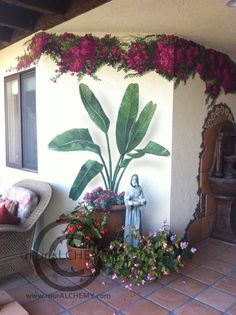 painted bougainvillea and tropical plants, no maintenance splash of color!