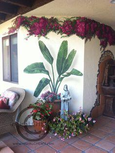 painted bougainvillea and tropical plants, no maintenance splash of color!