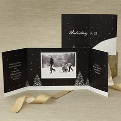 xmas cards  Snowscape Personalized Photo Christmas Cards - 7325