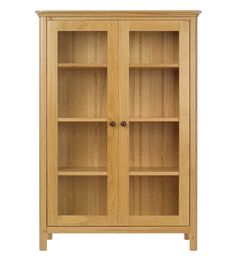 Light Brown Wooden Bookcase With Four Shelves And Double Glass Doors With Shirt Wooden Legs Placed On The White Floor Tall Bookcase With Doors, Solid Wood Bookshelf, Oak Bookshelves, Large Bookcase, Small Bookshelf, Wooden Bookcase, Glass Wall Shelves, Floating Glass Shelves, Glass Cabinet Doors