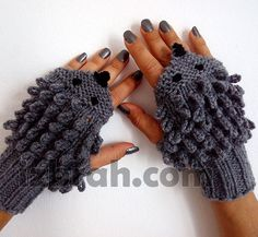 Knitting Pattern for Hedgehog Fingerless Mitts - These cute fingerless gloves come with written and charted instructions as well as step-by-step photos.