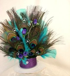 Purple Peacock Wedding Cake Top Purple Turquoise Crystals | AmoreBride - Wedding on ArtFire