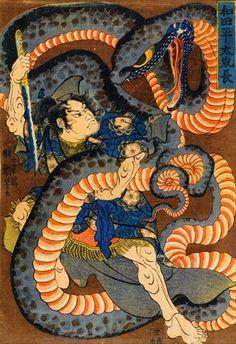 ukiyoe Shunga Makurae Erotic Art hirosige hokusai utamaro kuniyosi yositosi musha-e japan warriors Japanese Artwork, Japanese Tattoo Art, Japanese Prints, Samurai Art, Samurai Warrior, Snake Art, Japanese Folklore, Kuniyoshi, Japan Art