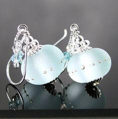 Aquamarine mer verre boucles d