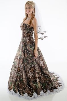 d0c8b6392670 Pink and camo dress, don't include garter, and I don't want the pink maybe  | Prom and formals in 2018 | Camo wedding dresses, Camo wedding, Pink camo  ...