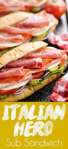 Italian Hero Sub San Italian Hero Sub Sandwich is a copycat recipe of the popular Subway foot long that makes a delicious and easy lunch for a crowd! Sandwich Recipes, Lunch Recipes, Dinner Recipes, Healthy Recipes, Sandwich Ideas, Deli Sandwiches, Italian Sandwiches, Italian Hero Sandwich Recipe, Paleo Dessert