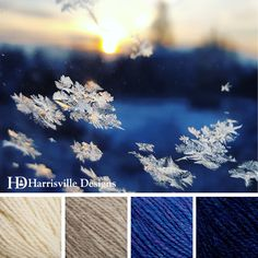 'Morning Snow Fall' color palette featuring Shetland yarn in White, Oatmeal, Iris, and Midnight Blue.