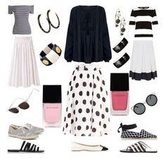 Summer Skirts in Noir et Blanc by tishjett on Polyvore featuring Oasis, River Island, Organic by John Patrick, Fenn Wright Manson, Marsèll, Roger Vivier, Pierre Hardy, Tabitha Simmons, Ancient Greek Sandals and Ippolita