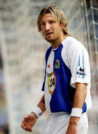 Robbie Savage in his playing days at Blackburn Rovers