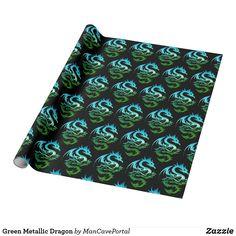 Green Metallic Dragon Wrapping Paper Gift Wrapping Paper, Custom Wrapping Paper, Note Cards, Colorful Backgrounds, I Shop, Presentation, Wraps, Metallic, Dragon