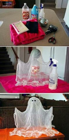 Homemade Halloween Ghost. Soda bottle, Styrofoam ball, wire. Drape cheese cloth over top and spray with starch until hard. Blow dry until dry, remove cheese cloth and glue on two felt eyes.