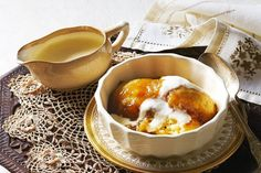 Warm up a cold winter night with these quick Golden Syrup Dumplings. (Also I like the napkins)