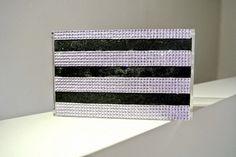 Lia bag stripes black and light pink strass