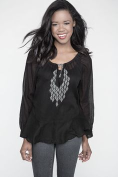 Madina: Hand Embroidered Peasant Blouse II Fair Trade Cotton Apparel. $128, Raven and Lily. Hand-stitched embroidery around neckline.