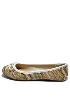 Multi-colored casual lightweight zig-zag bow decor slip on ballet flats. Comfy and lightweight multicolored ballet flats features a rounded toe, zig-zag pattern with solid trim around the collar, mini bow décor at vamp, and faux leather padded footbed. Rubber outsole. Great to wear with any color this summer. Color: Natural runs true to size.   Multi-Colored Zig-Zag Flat by Soda. Shoes - Flats California