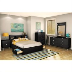 Fashionably functional Full size Modern Platform Bed Frame with 4 Storage Drawers in Black with its Pure Black finish. The 4 under-bed storage drawers on eac Bookcase Headboard King, Full Headboard, Headboard Art, Black Headboard, Bookcase Bed, Wood Bedroom, Bedroom Sets, Bedroom Furniture, Narrow Bedroom