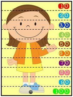 Rompecabezas numéricos para niños. Conteo de 10 en 10. Plastificar y recortar por la línea punteada.
