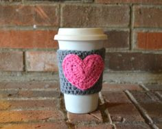 Crochet Coffee Cup Cozy Teacher Gift Cup Cozy by Sweetbriers
