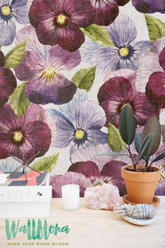 Purple Petunia Wallpaper | Removable Wallpaper | Self Adhesive Wallpaper | Temporary Wallpaper | Wall Sticker | Wall Decal