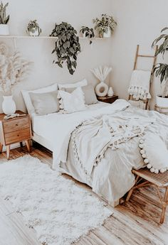 Room Ideas Bedroom, Home Bedroom, Bedrooms, Bedroom Inspo, Boho Bedroom Diy, White Bedroom Decor, Boho Room, Aesthetic Room Decor, Boho Aesthetic