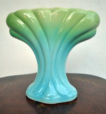 "Diana Pottery Large Art Deco Vase V109 Blue & Green Australia 22 cms (9"") High"