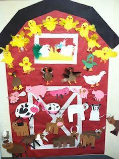 Cates' Kindergarten: Farm…for the hallway, Jodi? We add animals to it as … – Nutztiere Kindergarten Art, Preschool Crafts, Crafts For Kids, Farm Animal Crafts, Farm Animals, Farm Lessons, Big Red Barn, Farm Unit, Farm Activities