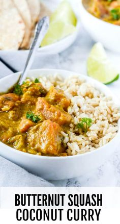 Play Video Butternut Squash Coconut Curry is one of the easiest, quickest and most tasty dishes that you can prepare in under 30 minutes. - Coconut About Healthy Dinner Recipes, Vegetarian Recipes, Cooking Recipes, Vegan Soups, Savoury Recipes, Vegan Dinners, Healthy Tips, Vegetable Recipes, Vegan Food