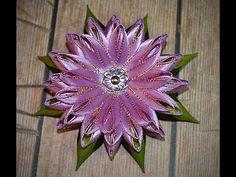 102. Цветок с двухцветными листьями канзаши. Видео МК. - YouTube