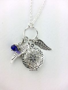 Diffuser Necklace, Angel Wings Aromatherapy Necklace, Gemstone Oil Diffusing Necklace by Earthinwirejewelry on Etsy