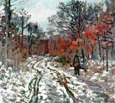 Chemin boisé, effet de neige (C Monet - W 144)