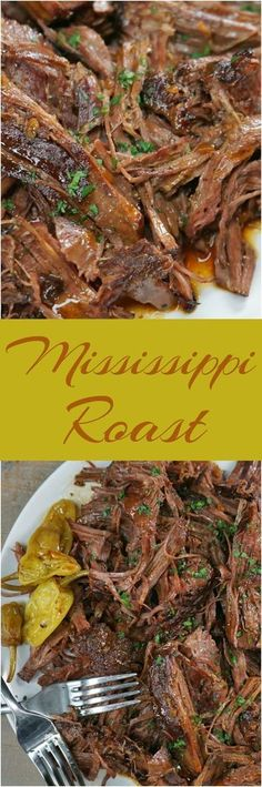 This sensational 5-ingredient pot roast is hands down the easiest roast beef you'll ever make--you'll have the prep done faster than you can spell Mississippi. Roast Recipes, Slow Cooker Recipes, Crockpot Recipes, Cooking Recipes, Healthy Recipes, Chicken Recipes, Kale Recipes, Shrimp Recipes, Casserole Recipes