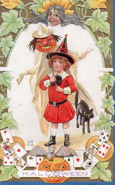 What a cute little witch! Vintage Halloween Postcards. Click to read more or pin to save for later!
