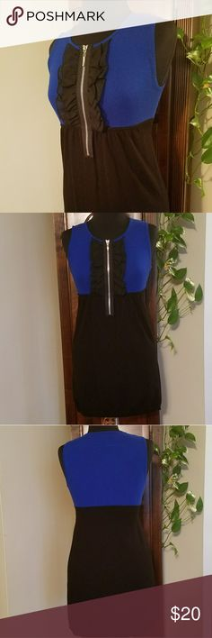 Like New, Lrg, Sleeveless Bodycon Dress Like New! In perfect condition. No flaws or fading.  Royal blue and black bodycon dress with ruffes and zipper detail in front.  Size Large by Wet Seal Wet Seal Dresses Mini