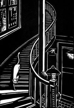 Frans Masereel: Cat on Steps