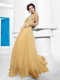 Cream Net With Santone Inner Wedding Gown (Free Size)