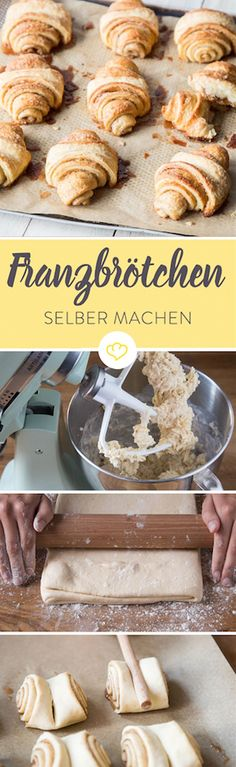 Franzbrötchen - the original from Hamburg - How-To Pins - Dessert Love Food, A Food, Food And Drink, Baking Recipes, Dessert Recipes, Food Porn, Dessert Bowls, Easy Cooking, Yummy Cakes