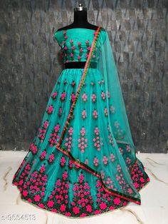 Lehengas Women's Lehenga Choli Topwear Fabric: Silk Bottomwear Fabric: Net Dupatta Fabric: Net Set type: Choli And Dupatta Top Print or Pattern Type: Embroidered Bottom Print or Pattern Type: Embroidered Dupatta Print or Pattern Type: Solid Sizes:  Semi Stitched (Lehenga Waist Size: 44 in Lehenga Length Size: 42 in Duppatta Length Size: 2.4 m) Country of Origin: India Sizes Available: Un Stitched, Free Size, Semi Stitched   Catalog Rating: ★4.3 (495)  Catalog Name: ⭐Free Mask Charvi Attractive Women Lehenga CatalogID_1685354 C74-SC1005 Code: 317-9554513-5481