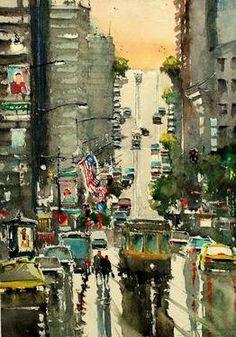 "Saatchi Art Artist maximilian damico; Painting, ""San Francisco Cross Street"" #art"