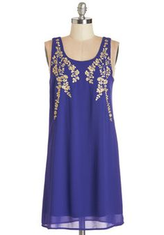 Everything Exquisite Dress. Youve planned for this party for months, now help it come to life in this violet-blue shift dress. #blue #modcloth