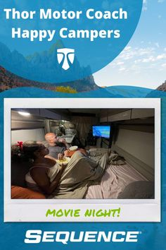 """Get ready for the weekend! What are your favorites for camper van movie nights?"""" Full-timers, Rocio and Gabe Rivero, love movies and popcorn in their Sequence. 🍿🎬 Small Motorhomes, Class B Motorhomes, Class B Rv, Love Movie, Greatest Adventure, Happy Campers, Camper Van, Van Life, Great Photos"""