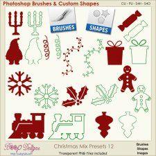Christmas Brush & Shape PRESETS 12  cudigitals.com cu commercial scrap scrapbook digital graphics#digitalscrapbooking #photoshop #digiscrap