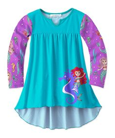 Take a look at this Turquoise & Purple Mermaid Hi-Low Tunic - Toddler & Girls today!